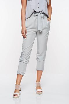Pantaloni SunShine gri casual cu talie inalta din material neelastic cu buzunare