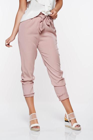 Pantaloni SunShine rosa casual cu talie inalta din material neelastic cu buzunare