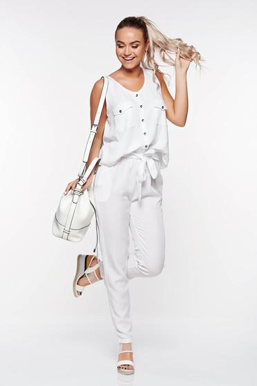 Pantaloni SunShine albe casual cu talie inalta din material neelastic cu buzunare
