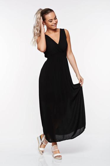 Rochie SunShine neagra casual cu croi larg din material vaporos cu elastic in talie