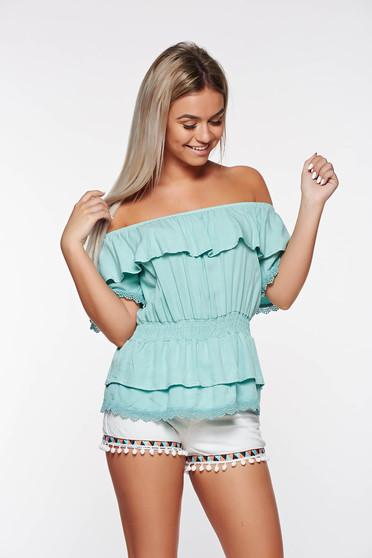 Bluza dama SunShine mint casual cu elastic in talie din material neelastic cu aplicatii de dantela