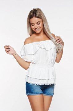 Bluza dama SunShine alba casual cu elastic in talie din material neelastic cu aplicatii de dantela