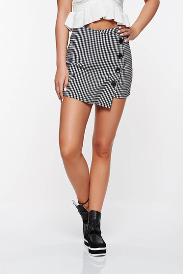Pantalon scurt tip fusta SunShine negru casual din material elastic cu talie inalta accesorizat cu nasturi