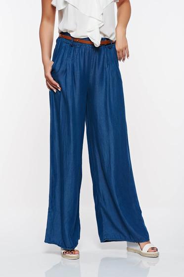 Pantaloni SunShine albastri casual evazati din denim cu talie inalta cu elastic in talie si buzunare