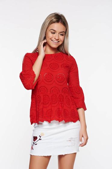 Bluza dama SunShine rosie casual cu croi larg din in cu maneci clopot