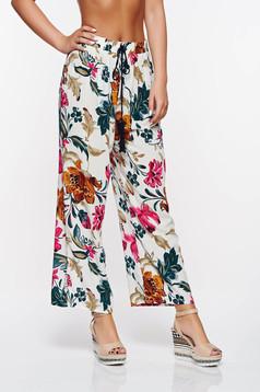 Pantaloni SunShine rosa casual cu croi larg din bumbac cu elastic in talie
