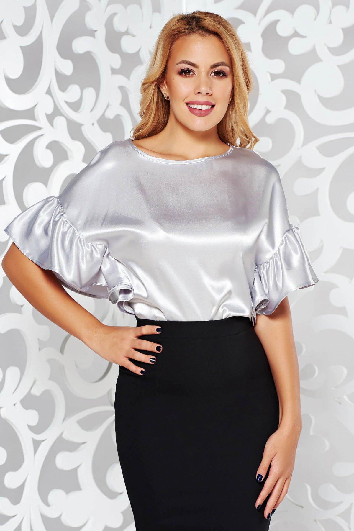 Bluza dama StarShinerS gri eleganta din material satinat cu croi larg