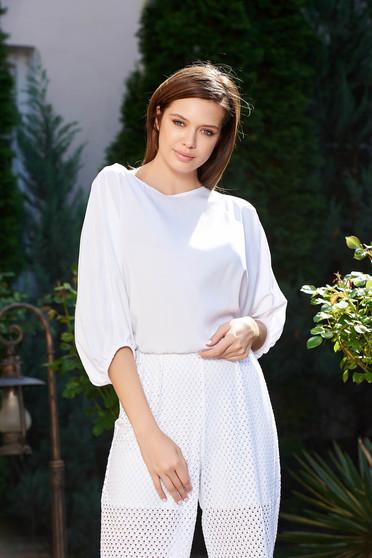 Bluza dama StarShinerS alba eleganta cu croi larg din material vaporos cu elastic in talie