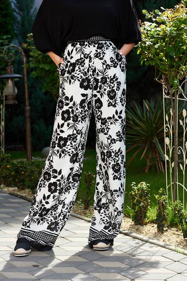 Pantaloni StarShinerS negri casual cu talie inalta evazati din material vaporos cu buzunare