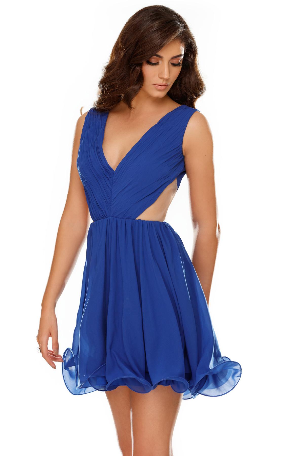 Rochie albastra de ocazie in clos din voal captusita pe interior cu spatele gol