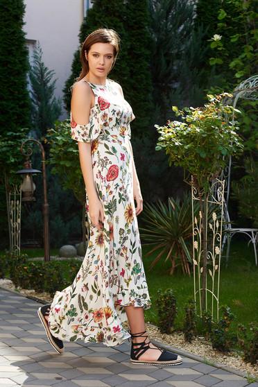 Rochie StarShinerS crem de zi asimetrica cu umeri decupati din material subtire cu imprimeuri florale