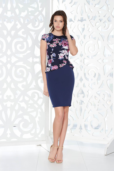 Rochie StarShinerS albastra-inchis office tip creion din bumbac cu peplum