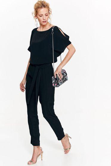 Salopeta Top Secret neagra eleganta cu umeri decupati din material vaporos cu elastic in talie