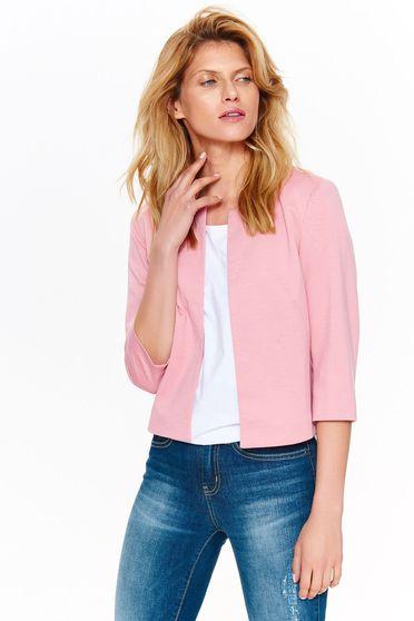 Sacou Top Secret roz elegant tip bolero cu croi larg din material fin la atingere