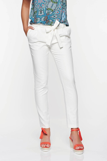 Pantaloni Top Secret albi eleganti conici din bumbac cu talie medie cu buzunare