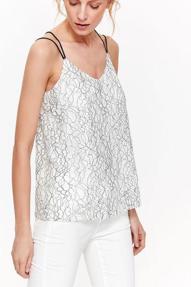 Bluza dama Top Secret alba eleganta cu croi larg din material neelastic cu decolteu in v
