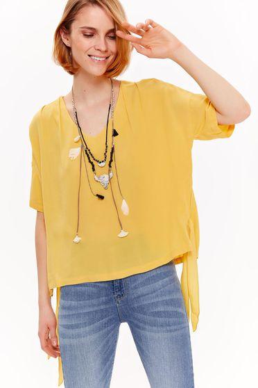 Bluza dama Top Secret galbena casual cu croi larg din material vaporos cu decolteu in v