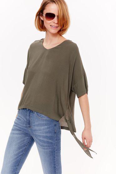 Bluza dama Top Secret verde casual cu croi larg din material vaporos cu decolteu in v