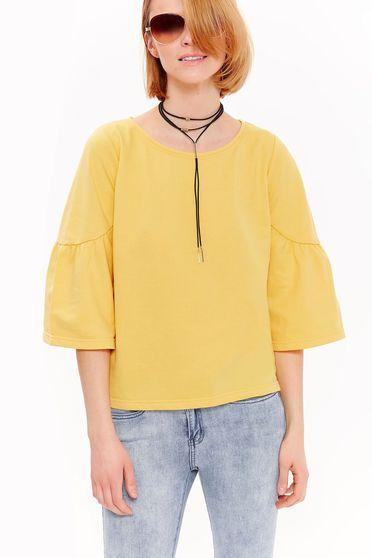 Bluza dama Top Secret galbena casual cu croi larg din bumbac cu maneci clopot