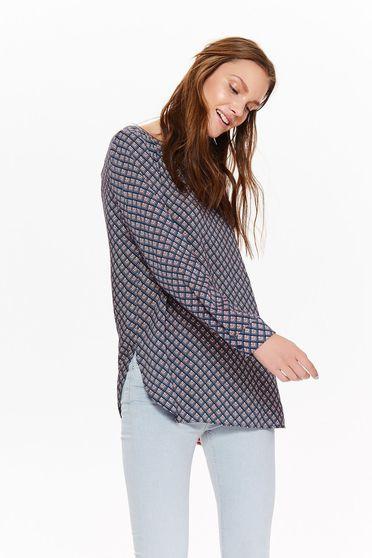 Bluza dama Top Secret albastra-inchis casual cu croi larg din material vaporos cu spatele decupat