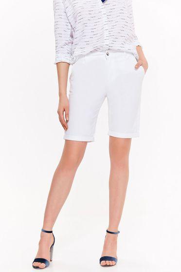 Pantalon scurt Top Secret alb cu talie medie din bumbac cu buzunare