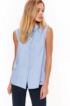 Camasa dama Top Secret albastra-deschis basic cu croi larg din material vaporos fara maneci