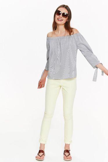 Bluza dama Top Secret gri-deschis casual cu croi larg din bumbac neelastic cu umeri goi