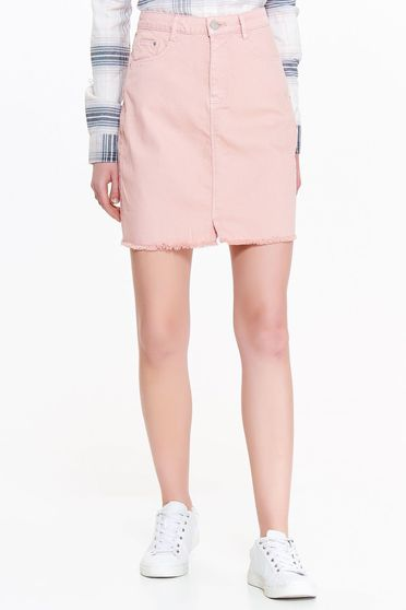 Fusta Top Secret rosa casual cu talie inalta din bumbac neelastic cu buzunare