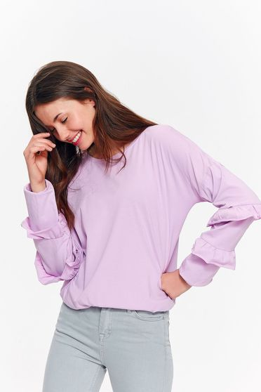 Bluza dama Top Secret lila casual cu croi larg din bumbac cu volanase la maneca