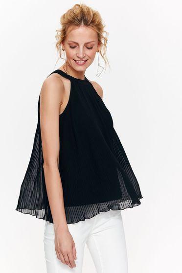 Bluza dama Top Secret neagra eleganta cu croi larg din voal plisat