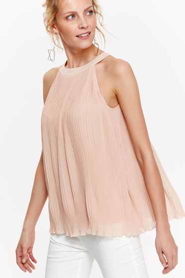 Bluza dama Top Secret rosa eleganta cu croi larg din voal plisat