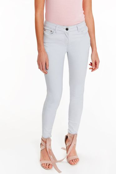 Pantaloni Top Secret gri-deschis casual cu talie medie din bumbac cu buzunare