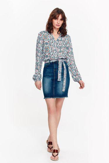 Bluza dama Top Secret alba casual cu croi larg din material vaporos cu print