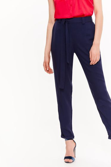 Pantaloni albastri-inchis Top Secret office conici cu talie inalta accesorizati cu cordon