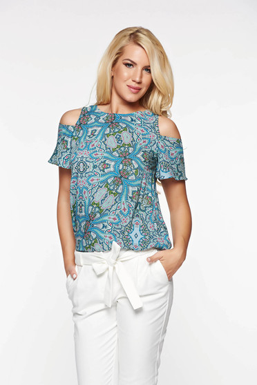Bluza dama Top Secret albastra-deschis casual cu croi larg din material vaporos cu umeri decupati
