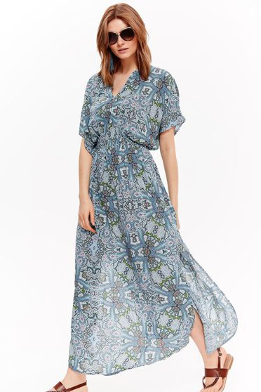 Rochie Top Secret albastra-deschis de zi cu croi larg din material vaporos cu print