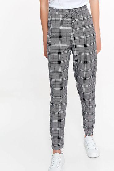Pantaloni Top Secret negri casual cu talie inalta din stofa neelastica cu snur in talie