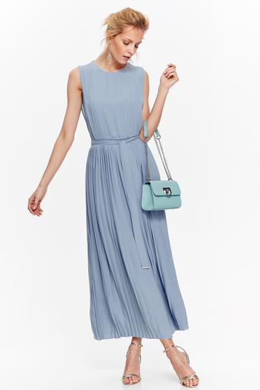 Rochie Top Secret albastra-deschis eleganta plisata din voal captusita pe interior cu elastic in talie