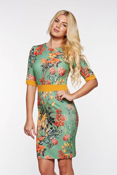 Rochie PrettyGirl verde eleganta tip creion din material elastic si fin cu imprimeuri florale