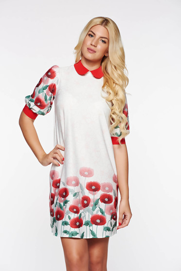 Rochie PrettyGirl rosie eleganta cu croi larg din material usor elastic cu imprimeuri florale