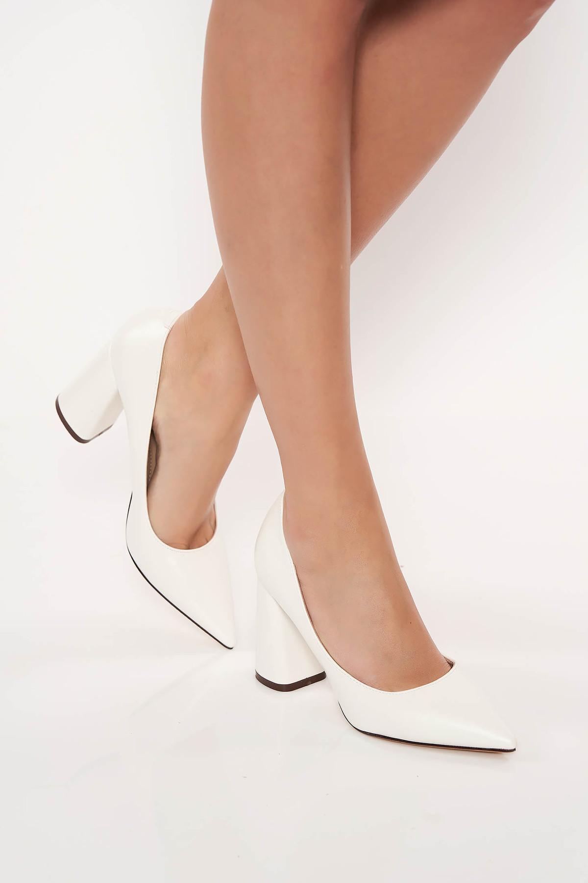 Pantofi albi eleganti cu toc gros din piele ecologica