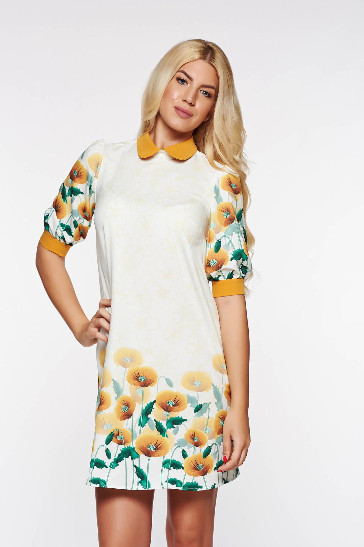 Rochie PrettyGirl mustarie eleganta cu croi larg din material usor elastic cu imprimeuri florale