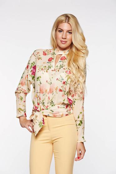 Bluza dama PrettyGirl crem eleganta cu croi larg din bumbac cu elastic in talie
