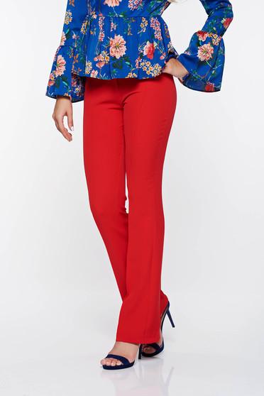 Pantaloni PrettyGirl rosii eleganti evazati din material elastic si fin cu talie medie