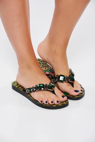 Papuci verzi de plaja cu aplicatii cu pietre strass cu print