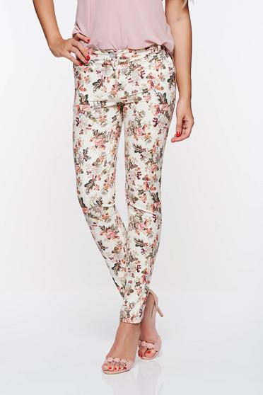 Pantaloni PrettyGirl crem eleganti cu talie medie din bumbac neelastic cu buzunare