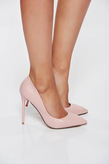 Pantofi stiletto rosa office din piele ecologica cu toc inalt