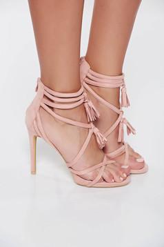 Sandale roz cu toc inalt din piele ecologica intoarsa cu bretele