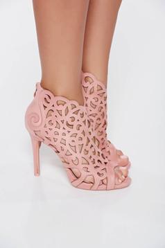 Sandale roz elegante cu toc inalt din piele ecologica cu decupaje in material