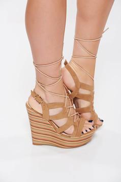 Sandale crem casual din piele ecologica accesorizate cu snur